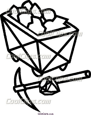 Black and white bag of coal clipart.