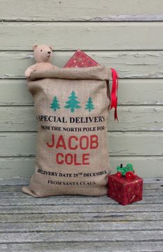 Christmas Burlap Santa Bag Santa Sack Express Mail by santabags.