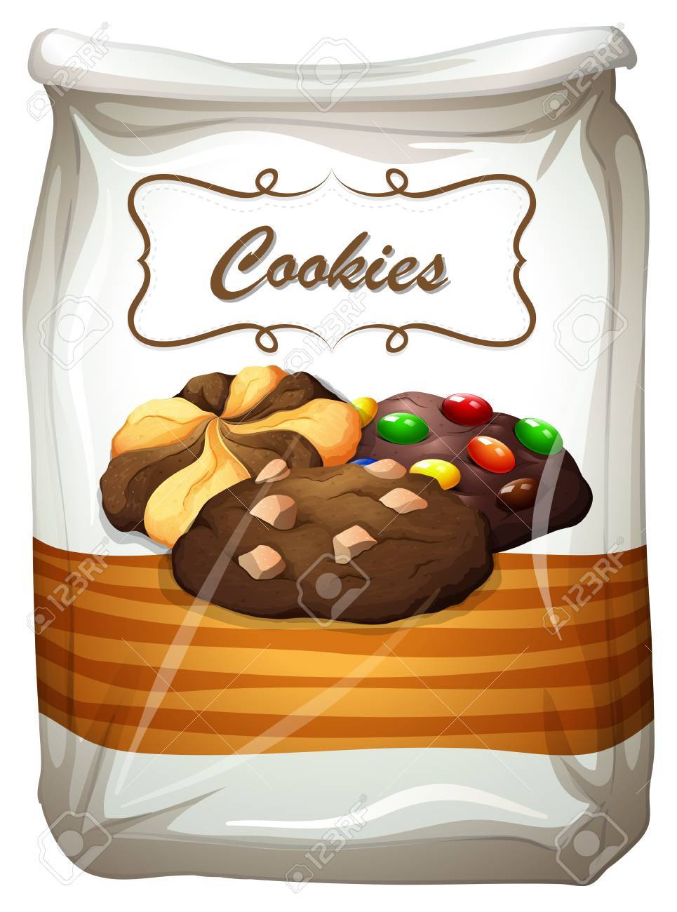 Cookies in white bag illustration.