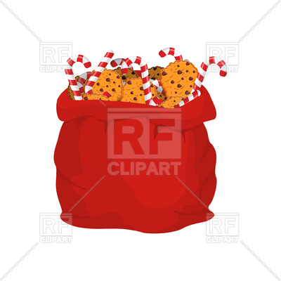 Santa bag of cookies and candy cane Vector Image.