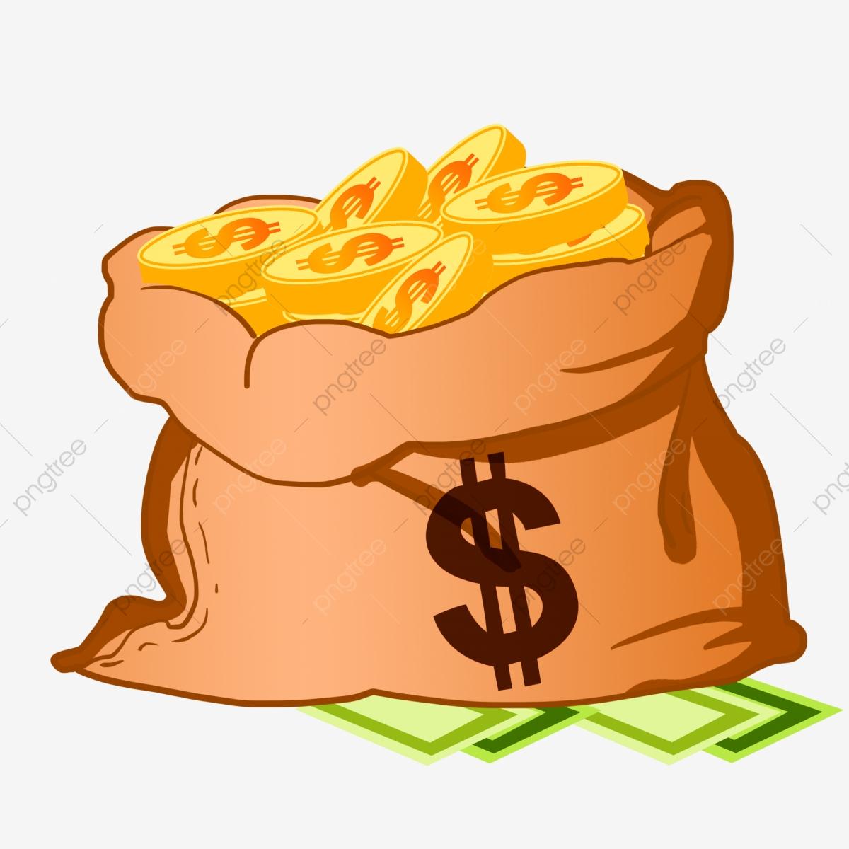 Cartoon Money Bag Money Bag A Bag Of Gold Coins Banknotes Under The.