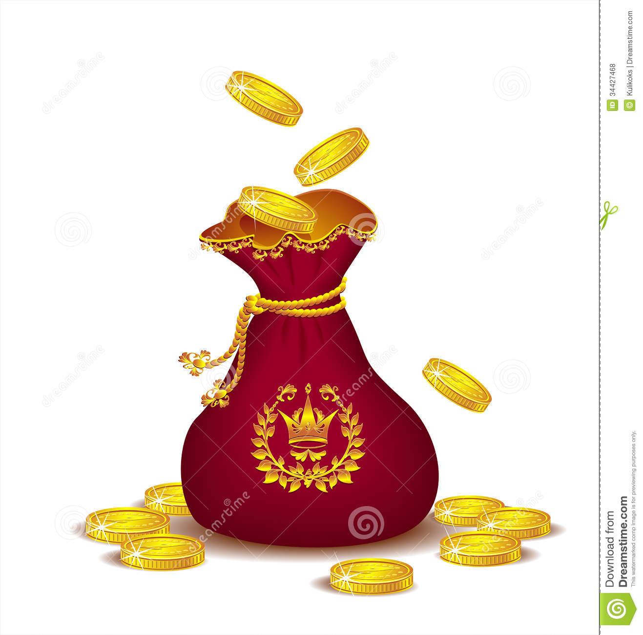 Royal Bag Gold Coins Stock Illustrations.