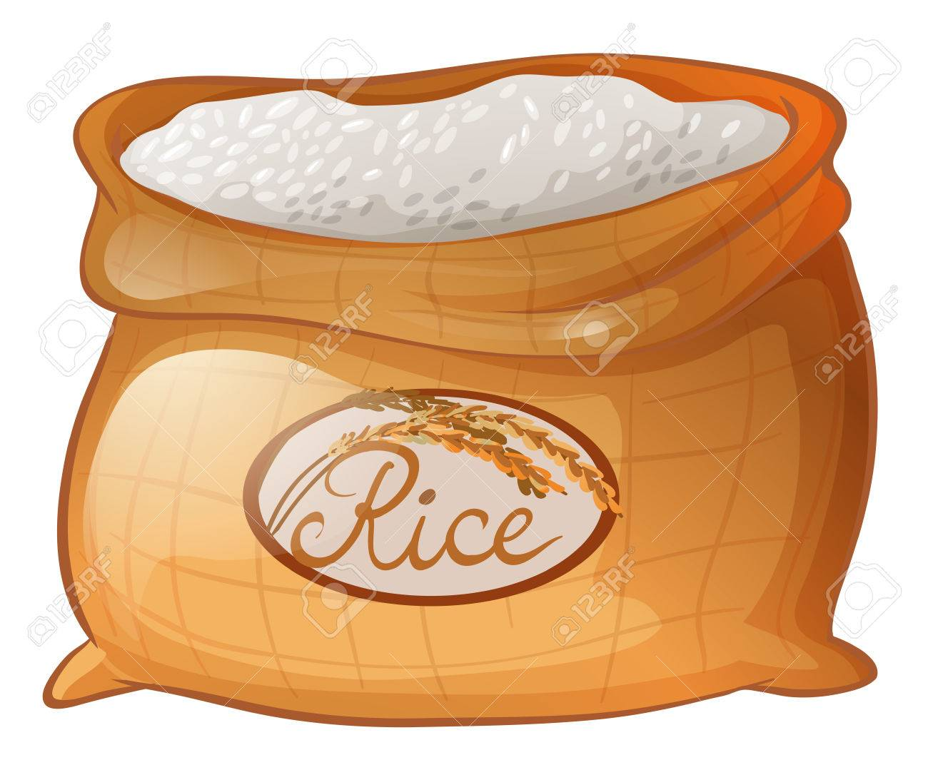 Bag of rice on white background illustration.