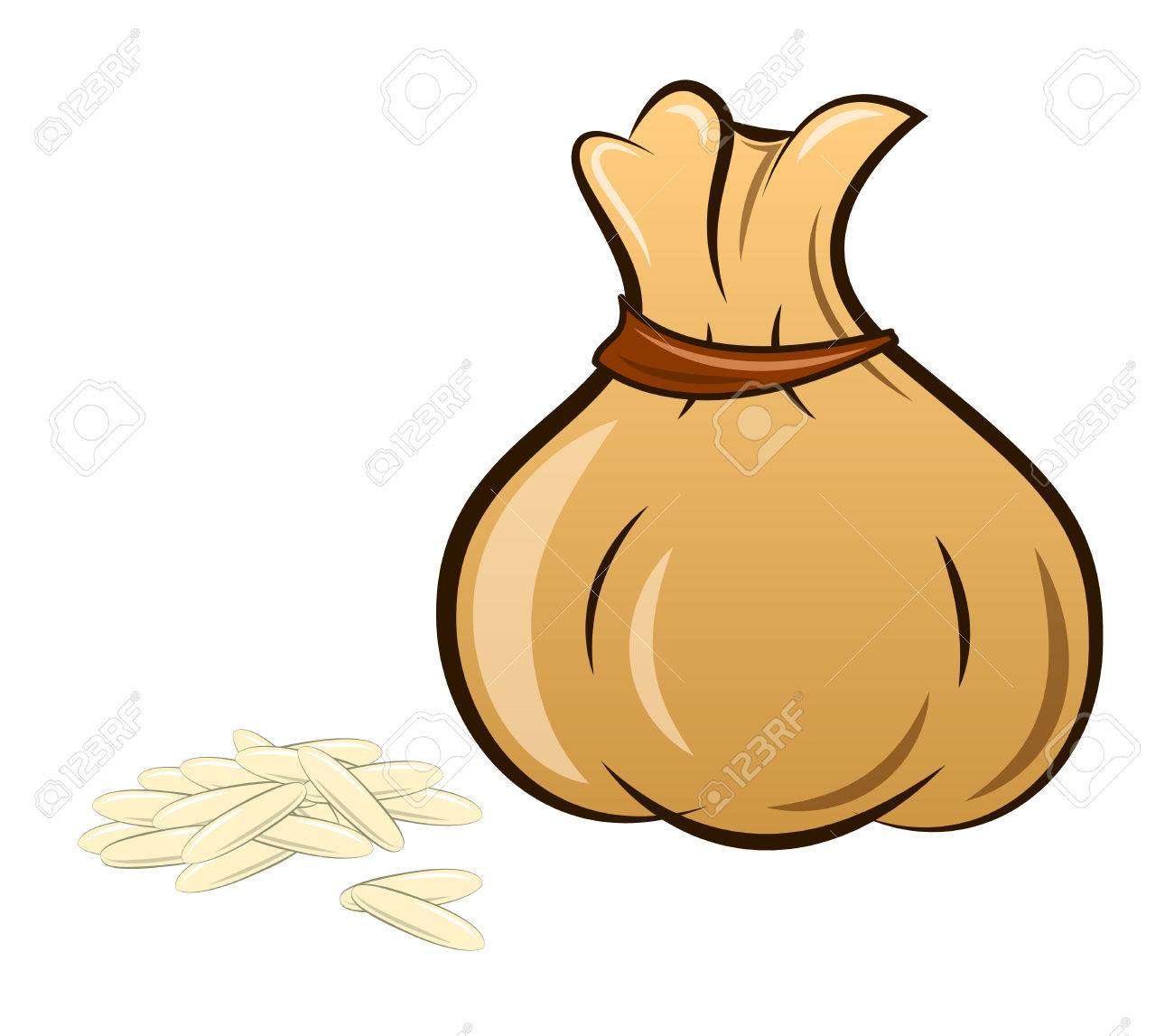 filled rice bag on white background, vector.