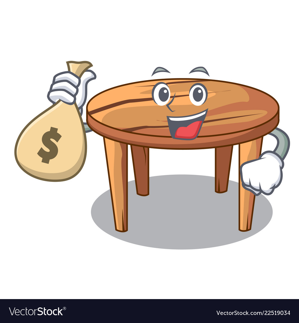 With money bag character wooden table in the.