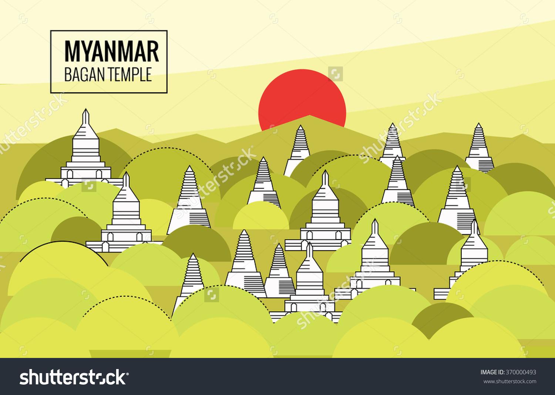 Bagan Temple Sunrise Destination Scene Myanmar Stock Vector.