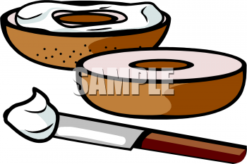 Bagel with Cream Cheese Clipart Picture.