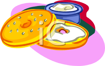 A Sliced Bagel With Cream Cheese Clipart Image.