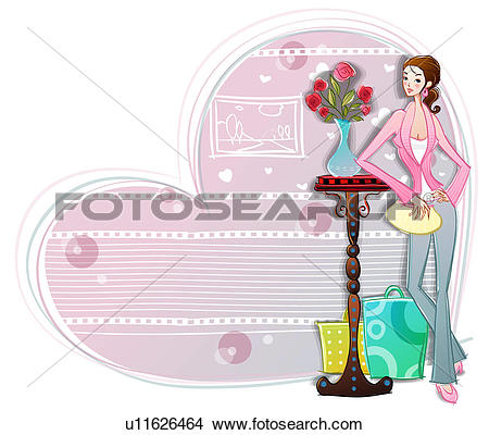Drawings of bag, vase, holding, shopping bag, flower, fashion.