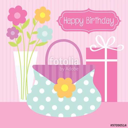 birthday design for female with cute bag, flower, and birthday.