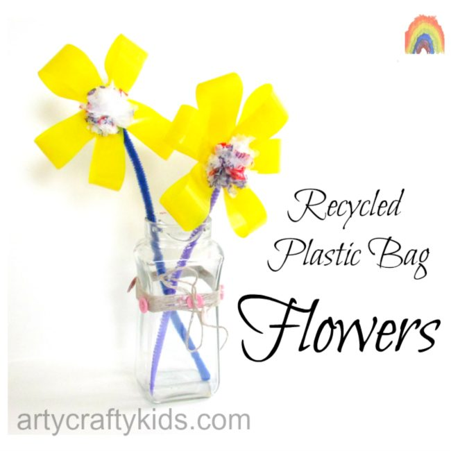 Recycled Plastic Bag Flower.