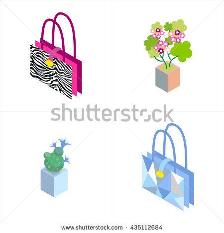 Bag Flower Cactus Isometric Illustration.