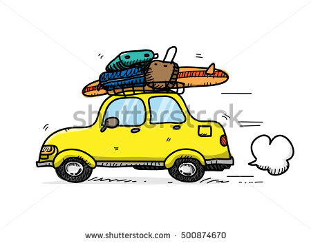 Mad Cow Driving Car On Vacation Stock Vector 81150037.