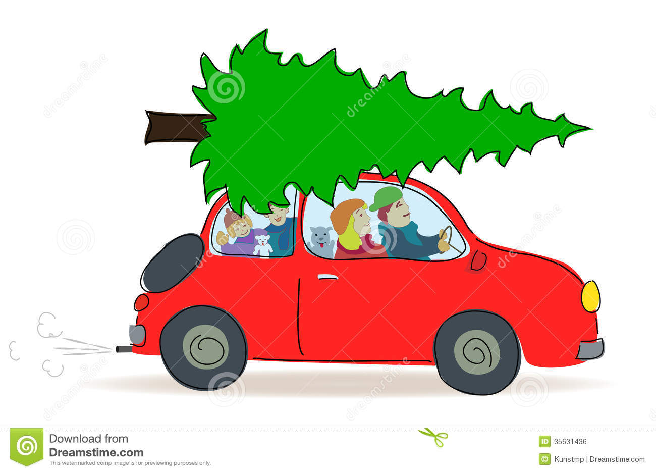 Christmas Tree Transport By Car Royalty Free Stock Image.