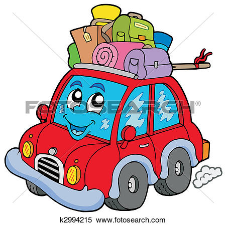Clipart of Cute car with baggage k2994215.