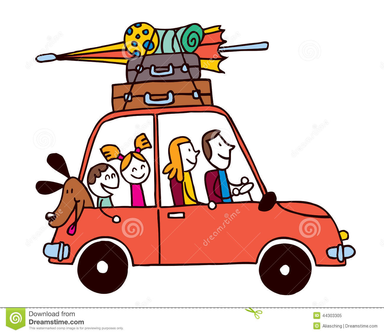 Family Of Four Vacation, Car With Luggage Travel Vector.
