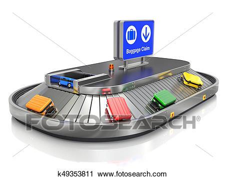 Airport Baggage Claim Transporter Clip Art.