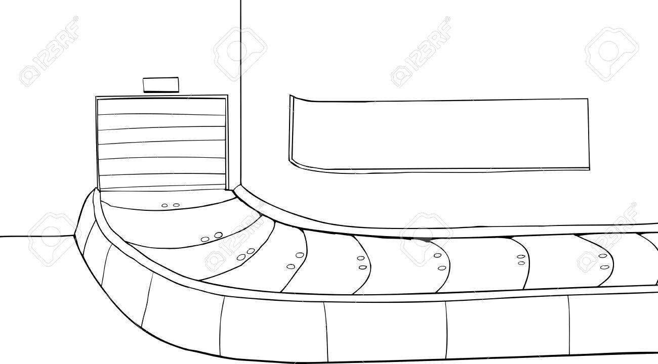 Outlined cartoon of a closed baggage claim scene.