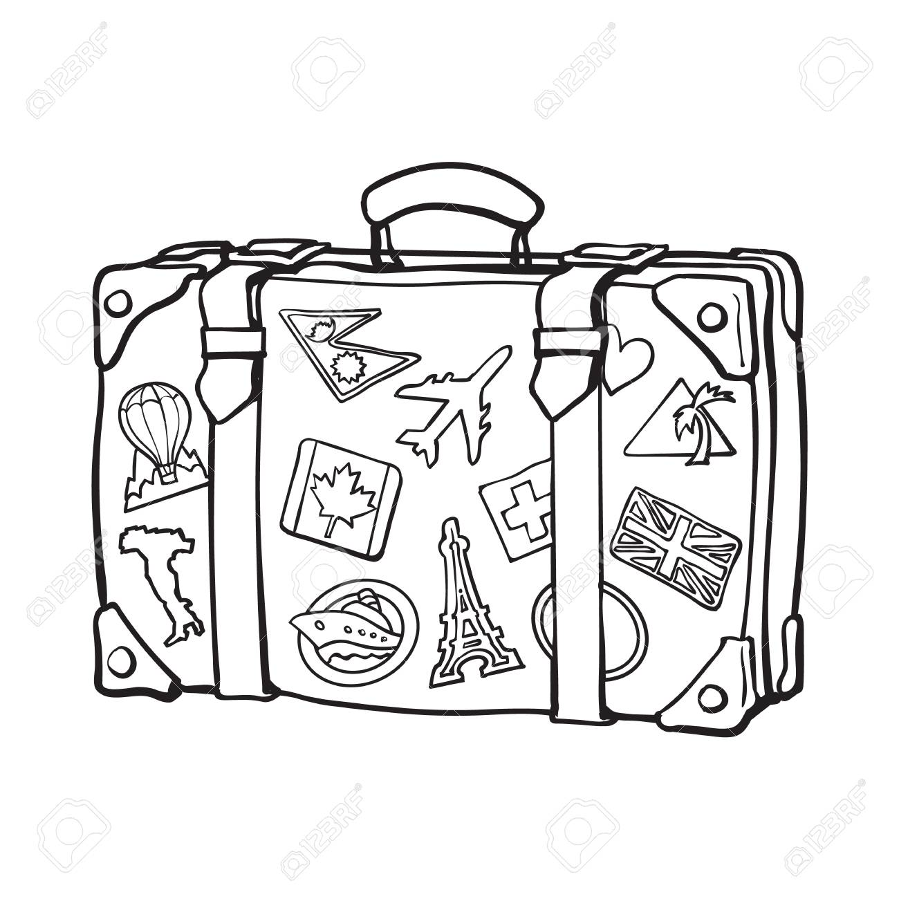 Suitcase Clipart Black And White.
