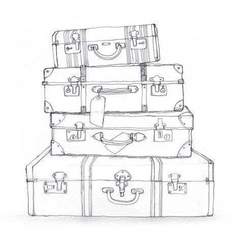 black and white suitcase clipart Travel light, sojourner.