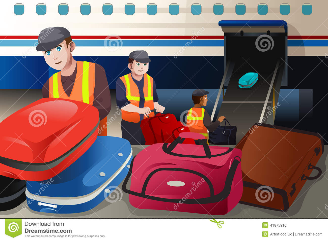 Workers Loading Luggage Into An Airplane In The Airport Stock.