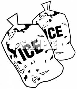Clipart Picture of Two Bags of Ice.