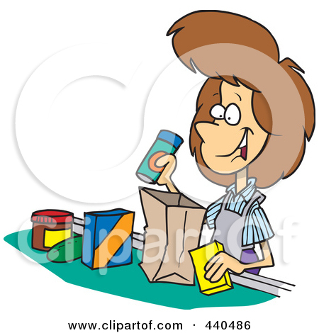 Cartoon Friendly Cashier Bagging Groceries Posters, Art Prints by.