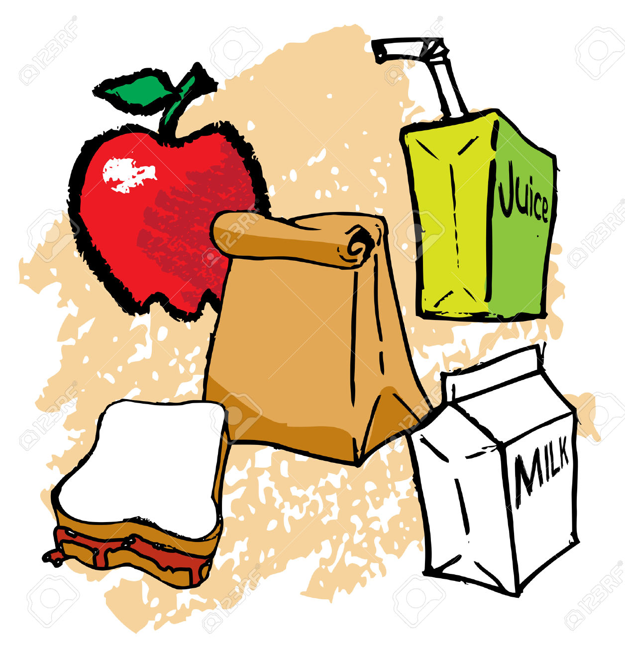 Kids School Bagged Lunch Royalty Free Cliparts, Vectors, And Stock.