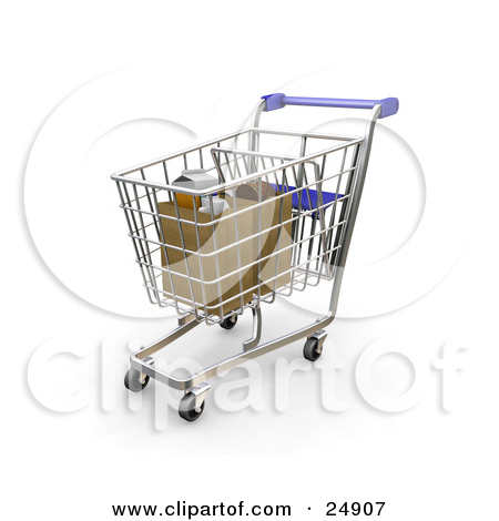Clipart Illustration of a Blue Handled Shopping Cart With.