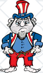 Clipart Illustration of a Sad And Gloomy Uncle Sam Wearing.
