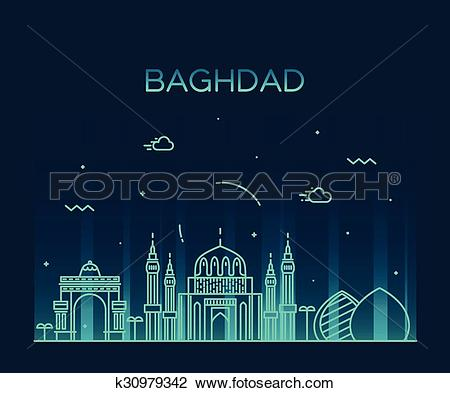 Clipart of Baghdad skyline vector illustration linear style.