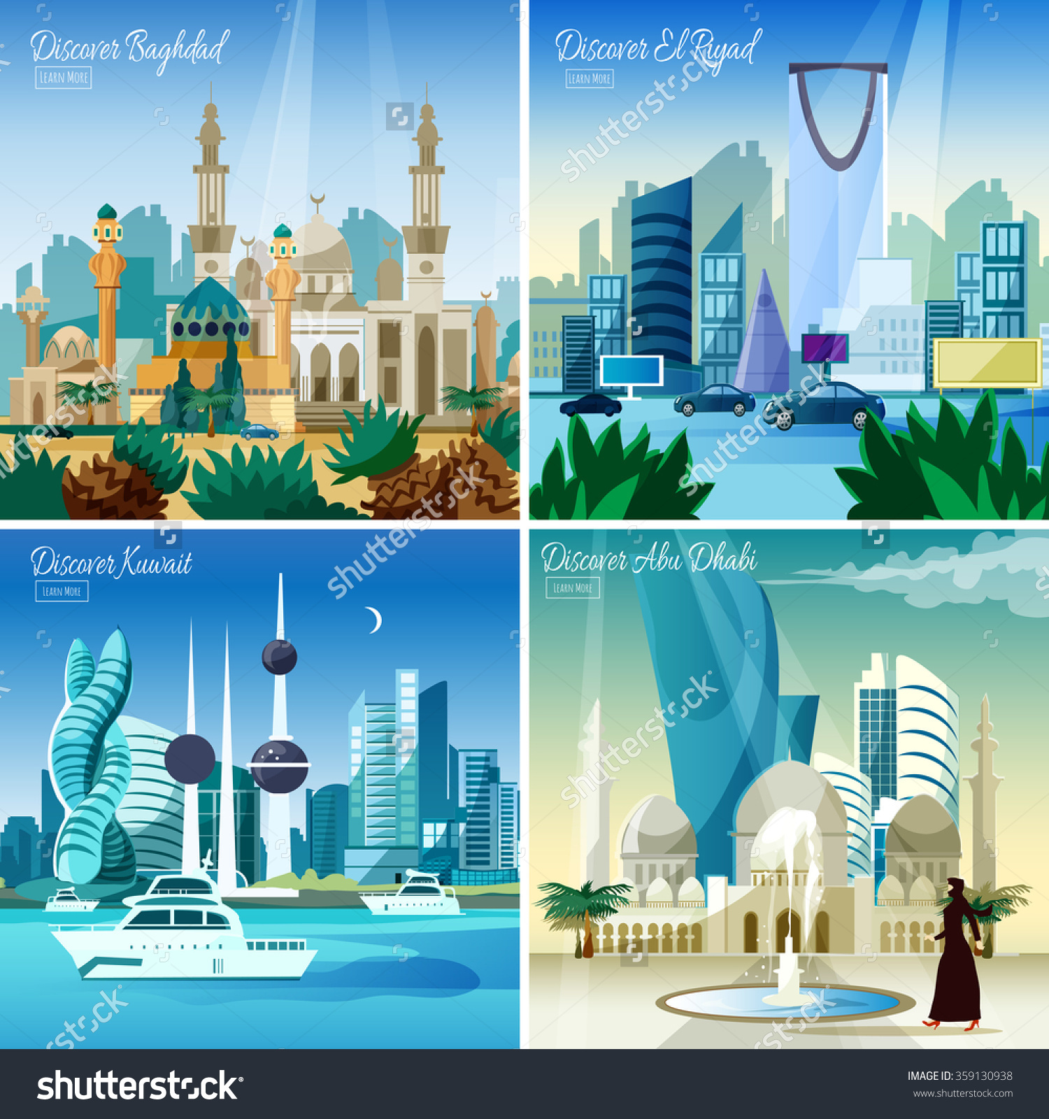 Discover Baghdad Kuwait Abu Dhabi Largest Stock Vector 359130938.