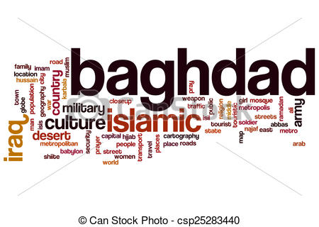 Drawing of Baghdad word cloud concept csp25283440.