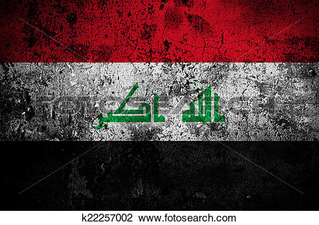 Clip Art of grunge flag of Iraq with capital in Baghdad k22257002.