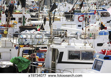 Picture of boats in fishing port in bagheria, palermo, sicily.