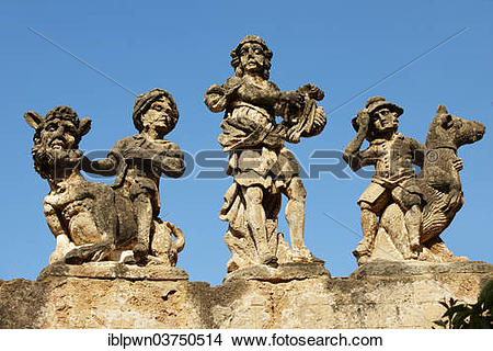 """Stock Photo of """"Baroque statues on the wall of Villa Palagonia."""