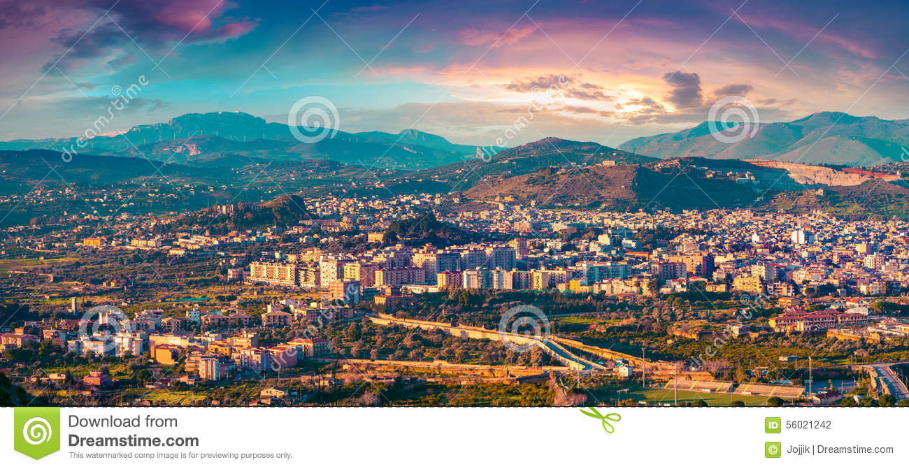 Evening View From The Bird's Eye Of The Town Bagheria Stock Photo.