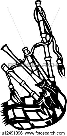 Clip Art of , bagpipe, instrument, ireland, music, musical.