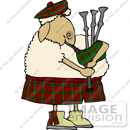 Sheep Playing Bagpipes Clipart.