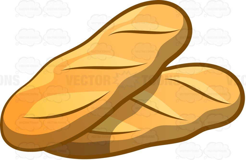 Freshly baked and hot baguettes #cartoon #clipart #vector.