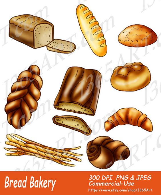 Baked Bread Clipart, Bakery clipart, Invitations, Scrapbooking.