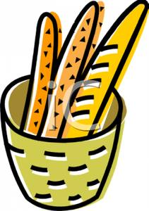 Baguette Sticks In a Basket Clipart Image.