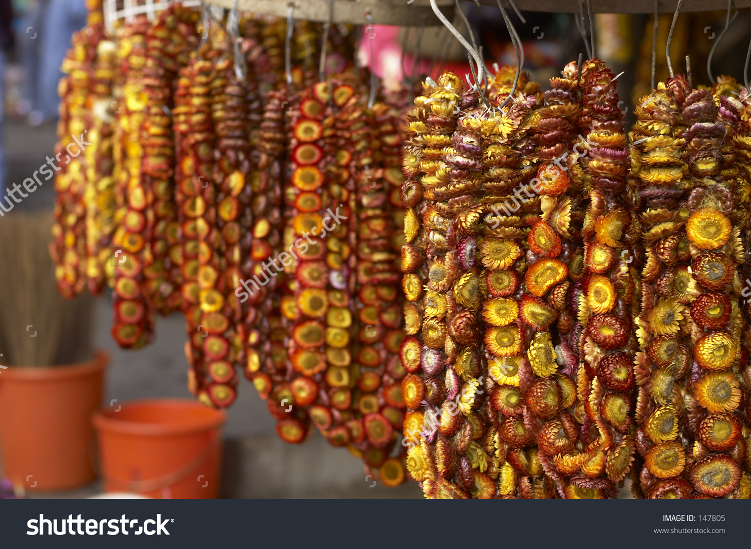 Garlands Of Dried Flowers In A Baguio Market, Philippines Stock.