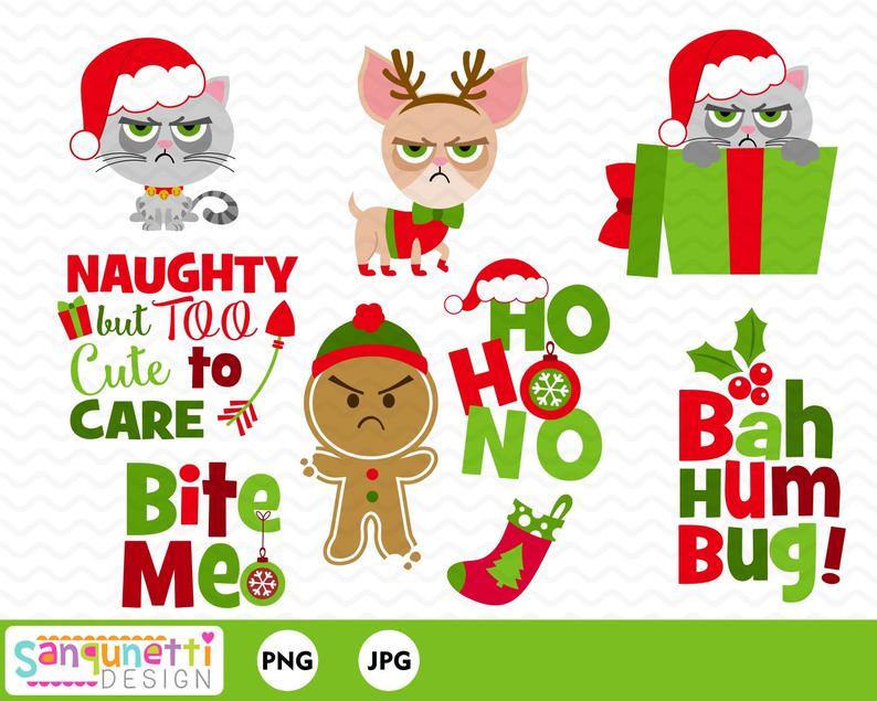 Bah Humbug Grumpy Cat Christmas Clipart, grouchy cat graphics.
