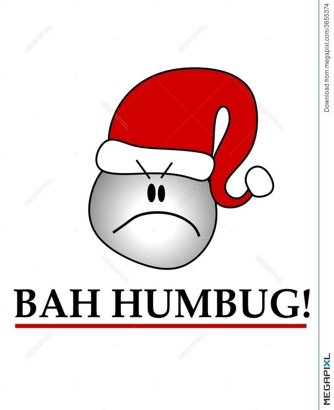 Bah Humbug Smiley Wearing Hat Illustration 3655374.