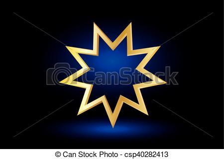 Vector Clip Art of Bahai symbol,.