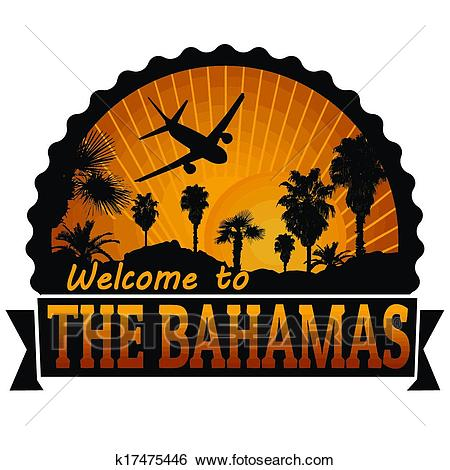 The Bahamas travel label or stamp Clip Art.