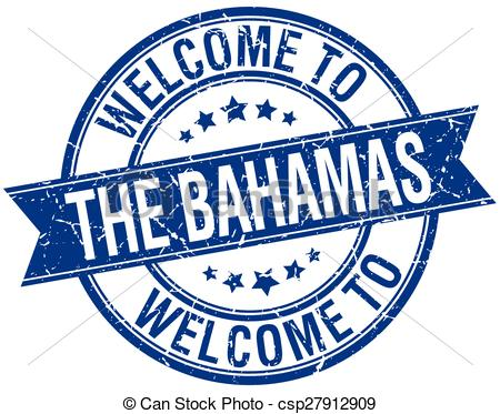 Vector Clipart of welcome to The Bahamas blue round ribbon stamp.