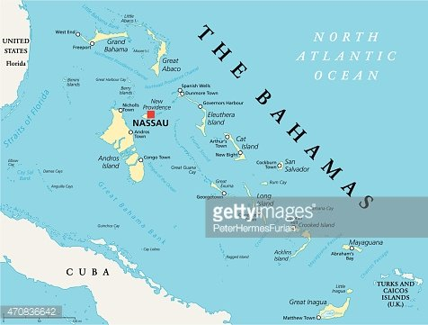 The Bahamas Political Map Clipart Image.