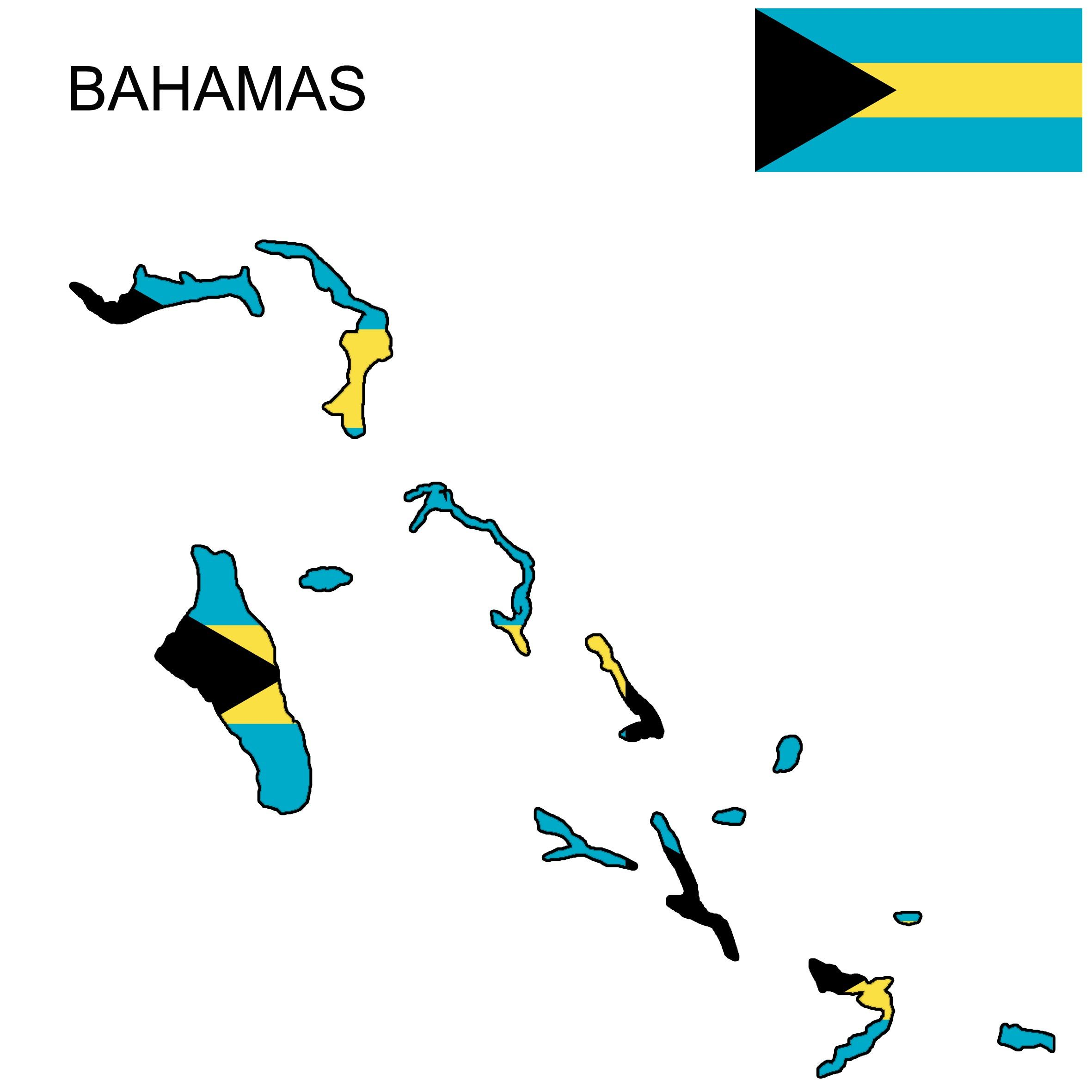 Bahamas Flag Map in 2019.